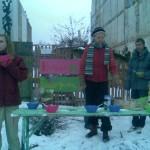 Bühnenbeet im winterlichen Stadtgarten