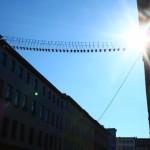 Stadt-Spiel-Vision: Blick auf die temporäre Brücke