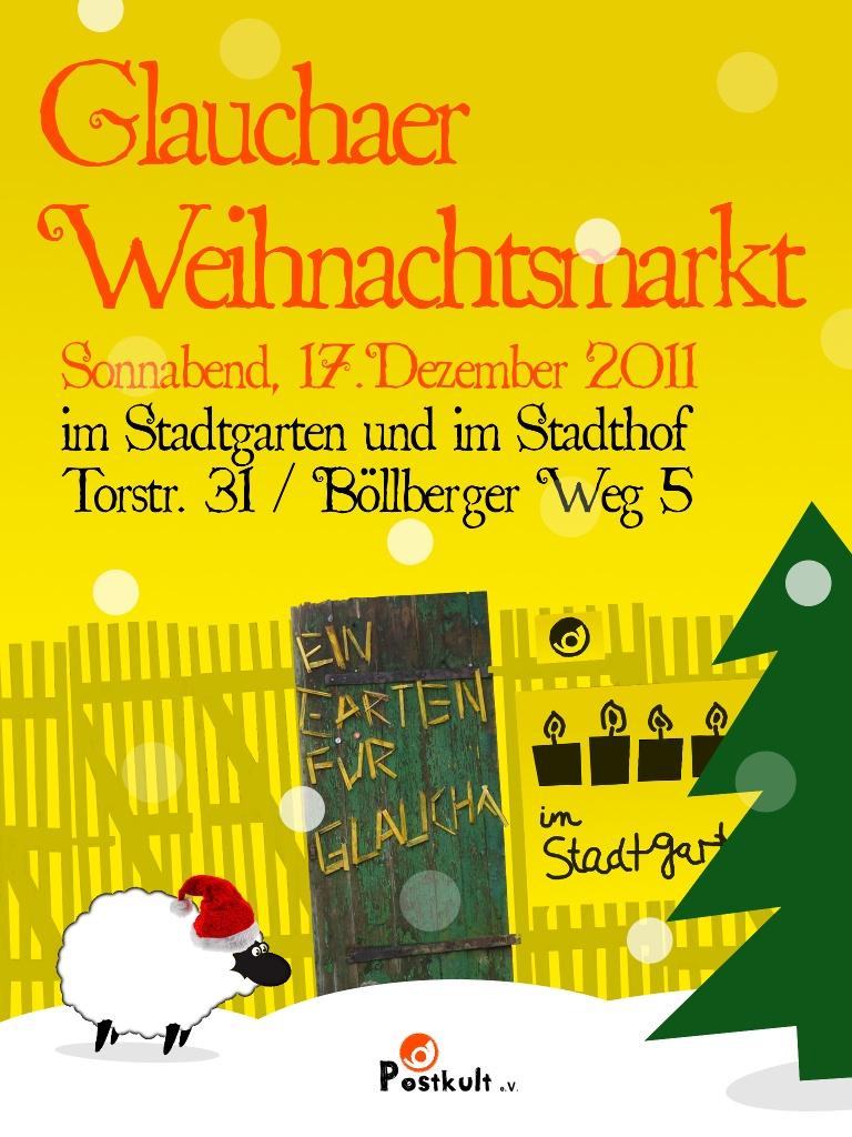 einladung zum 'glauchaer weihnachtsmarkt' am 17.12.2011 – postkult, Einladungen